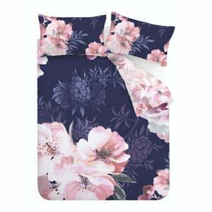 Modro-ružové obliečky Catherine Lansfield Dramatic Floral, 135 x 200 cm