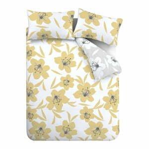 Žlto-biele obliečky Catherine Lansfield Lily, 135 x 200 cm
