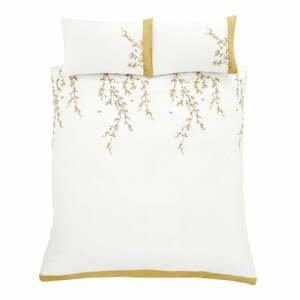 Bielo-žlté obliečky Catherine Lansfield Embroidered Blossom, 220 x 230 cm