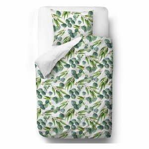 Zelené obliečky z bavlneného saténu Butter Kings Floating Eucalyptus, 200 x 200 cm