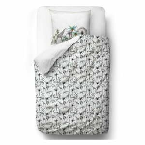 Sivé obliečky z bavlneného saténu Butter Kings Safari Animals, 135 x 200 cm