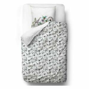 Sivé obliečky z bavlneného saténu Butter Kings Safari Animals, 140 x 200 cm