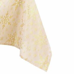 Vianočný obrus v zlatej farbe AmeliaHome White Christmas, 140 x 200 cm