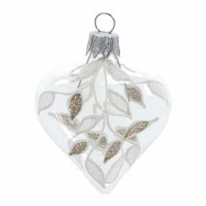 Súprava 4 sklenených vianočných ozdôb v bielo-zlatej farbe Ego Dekor Heart