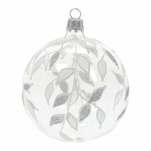 Súprava 3 sklenených vianočných ozdôb v bielo-striebornej farbe Ego Dekor