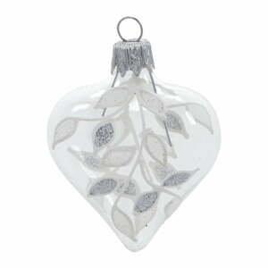 Súprava 4 sklenených vianočných ozdôb v bielo-striebornej farbe Ego Dekor Heart