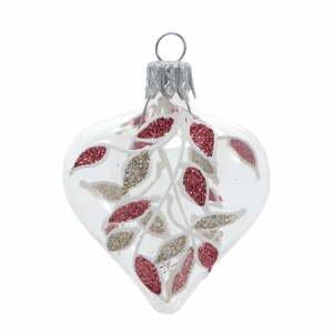 Súprava 4 sklenených vianočných ozdôb v zlato-červenej farbe Ego Dekor Heart