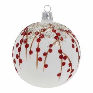 Súprava 3 bielo-červených sklenených vianočných ozdôb Ego Dekor