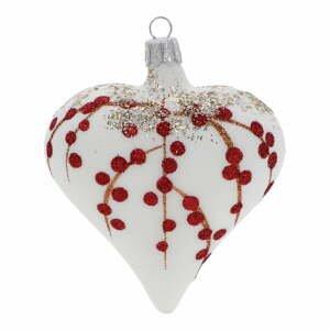 Súprava 3 bielo-červených sklenených vianočných ozdôb Ego Dekor Heart
