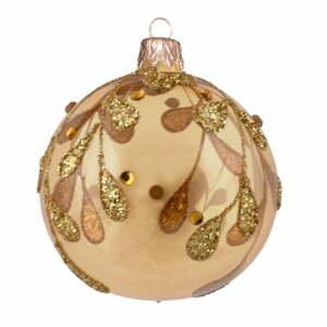 Súprava 3 sklenených vianočných ozdôb v zlatej farbe Ego Dekor