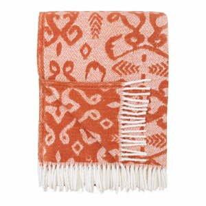 Oranžový pléd s podielom bavlny Euromant Mykonos, 140 x 180 cm