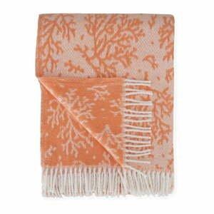Oranžový pléd s podielom bavlny Euromant Coral, 140 x 180 cm