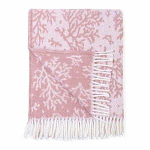 Ružový pléd s podielom bavlny Euromant Coral, 140 x 180 cm