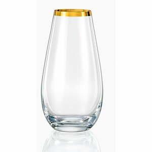 Sklenená váza Crystalex Golden Celebration, výška 24,5 cm