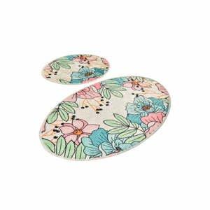 Súprava 2 oválnych kúpeľňových predložiek Chilai Pastel Bloom