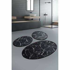 Súprava 3 čiernych oválnych kúpeľňových predložiek Chilai Marble