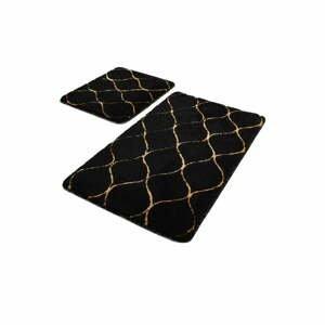 Súprava 2 čiernych obdĺžnikových kúpeľňových predložiek Chilai Gold Wave