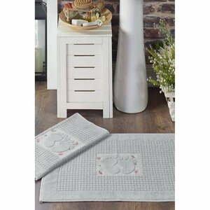 Súprava 2 sivých obdĺžnikových kúpeľňových predložiek Chilai Steps