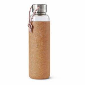 Sklenená fľaša na vodu s béžovým silikónovým obalom Black + Blum G-Bottle, 600 ml