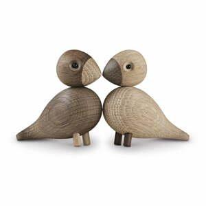 Súprava 2 sošiek z masívneho dubového dreva Kay Bojesen Denmark Lovebirds