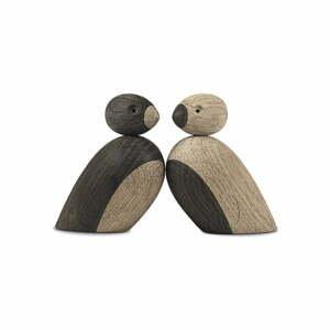 Súprava 2 sošiek z masívneho dubového dreva Kay Bojesen Denmark Pair of Sparrows