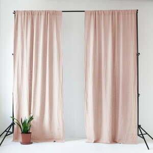 Ružový ľanový záves Linen Tales Night Time, 275 x 140 cm