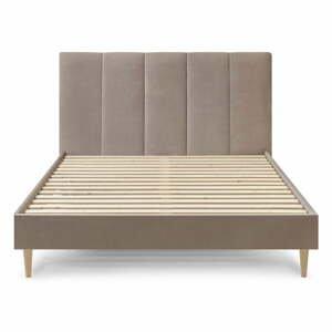 Béžová zamatová dvojlôžková posteľ Bobochic Paris Vivara, 160 x 200 cm