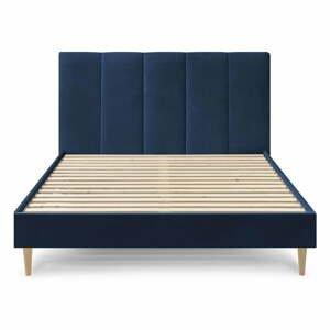 Tmavomodrá zamatová dvojlôžková posteľ Bobochic Paris Vivara, 160 x 200 cm