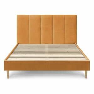 Žltá zamatová dvojlôžková posteľ Bobochic Paris Vivara, 160 x 200 cm