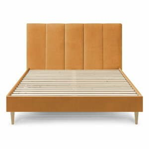 Žltá zamatová dvojlôžková posteľ Bobochic Paris Vivara, 180 x 200 cm