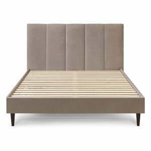 Béžová zamatová dvojlôžková posteľ Bobochic Paris Vivara Velour, 160 x 200 cm