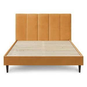 Žltá zamatová dvojlôžková posteľ Bobochic Paris Vivara Velour, 160 x 200 cm