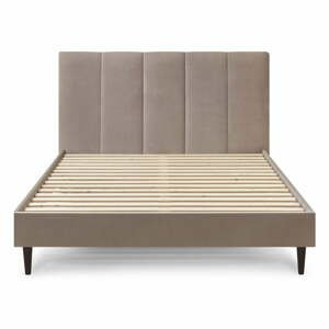 Béžová zamatová dvojlôžková posteľ Bobochic Paris Vivara Velour, 180 x 200 cm