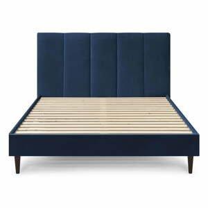Tmavomodrá zamatová dvojlôžková posteľ Bobochic Paris Vivara Velour, 180 x 200 cm