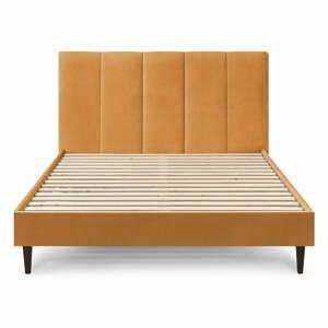Žltá zamatová dvojlôžková posteľ Bobochic Paris Vivara Velour, 180 x 200 cm