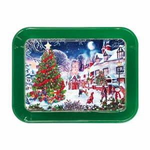 Zelený podnos s vianočným motívom Brandani, dĺžka 33,5 cm