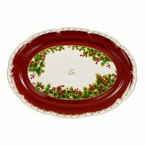Porcelánový podnos s vianočným motívom Brandani Le Bacche, dĺžka 40 cm