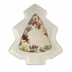 Porcelánový servírovací tanier v tvare stromčeka Brandani Sottobosco, dĺžka 23,5 cm