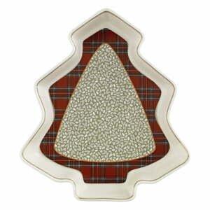 Porcelánový servírovací tanier v tvare stromčeka Brandani Sottobosco Porcelain, dĺžka 23,5 cm