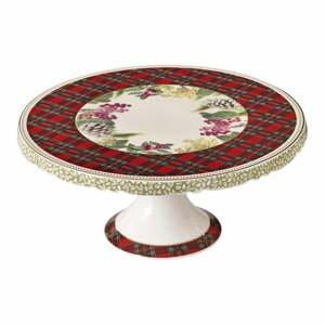 Porcelánový stojan na tortu s vianočným motívom Brandani Sottobosco, ⌀ 28 cm