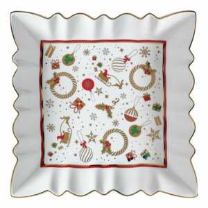 Biely porcelánový servírovací tanier s vianočným motívom Brandani Alleluia New Bone, dĺžka 23,5 cm
