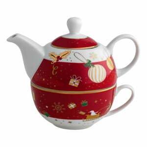 Porcelánová kanvica na čaj so šálkou Brandani Alleluia, dĺžka 15 cm