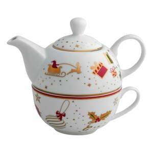 Porcelánová kanvica na čaj so šálkou Brandani Alleluia Porcelain, dĺžka 15 cm