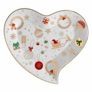 Porcelánový servírovací tanier v tvare srdca Brandani Alleluia, dĺžka 20 cm