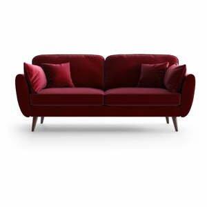 Červená zamatová pohovka My Pop Design Auteuil