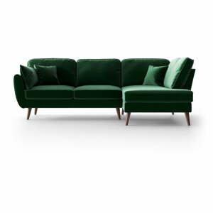 Zelená zamatová rohová pohovka My Pop Design Auteuil, pravý roh