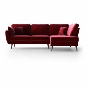 Červená zamatová rohová pohovka My Pop Design Auteuil, pravý roh