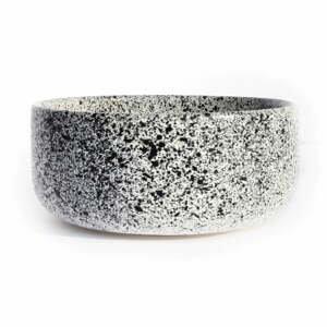 Bielo-čierna kameninová miska ÅOOMI Mess, ø 15 cm