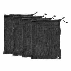 Súprava 4 čiernych desiatových vreciek z recyklovanej bavlny Ladelle Eco, 30 x 40 cm