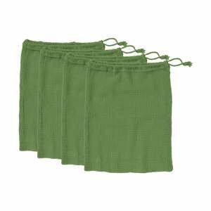 Súprava 4 zelených desiatových vreciek z recyklovanej bavlny Ladelle Eco, 30 x 40 cm